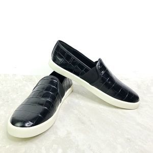 Vince Slip On Croc Embossed Sneakers Shoes Leather